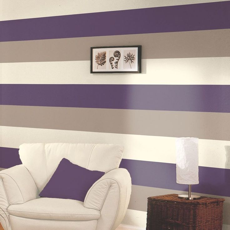 Stripe Wallpaper - Purple / Coffee / Cream - E40936  This stylish yet simple Stripe Wallpaper features a wide stripe design in complimentary tones of purple, coffee and cream that can be hung either vertically or horizontally. Easy to apply, this high quality lightly textured wallpaper would look great as a feature wall or equally good when used to decorate a whole room. A stylish stripe design wallpaper Can be hung vertically or horizontally Ideal for feature walls or entire rooms ...