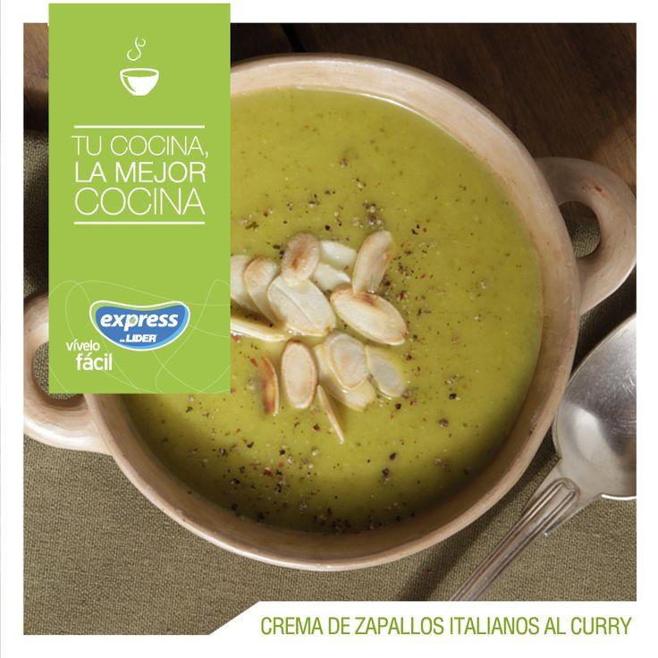 Crema de zapallos italianos al curry #Recetario #Receta #RecetarioExpress #Lider #Food #Foodporn #Zapallo #Curry #Crema