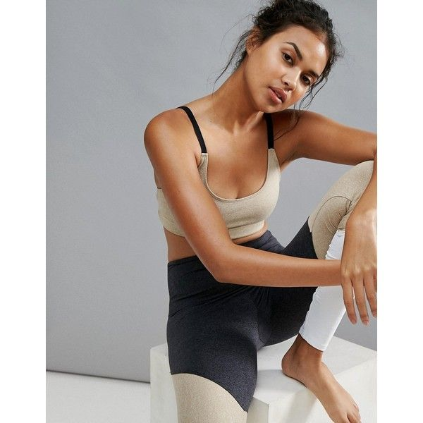 Onzie Elastic Bra In Taupe ($56) ❤ liked on Polyvore featuring activewear, sports bras, beige, onzie, yoga sports bra, onzie activewear, yoga activewear and beige sports bra