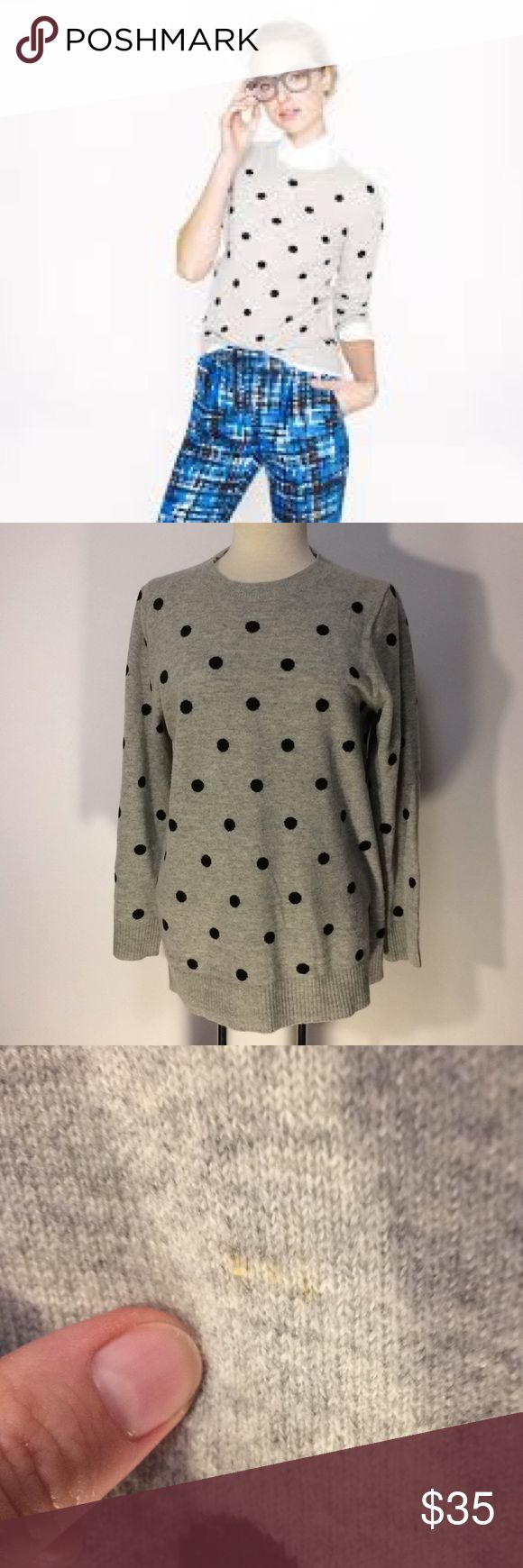 J. Crew Polka Dot Cashmere Sweater Sz L J. Crew Gray with black Polka dots Italian Cashmere Sweater Sz L. Has buttons at the back of neck. Has one small spot in front near the bottom of Sweater - should come out with dry cleaning - otherwise in excellent condition. J. Crew Sweaters