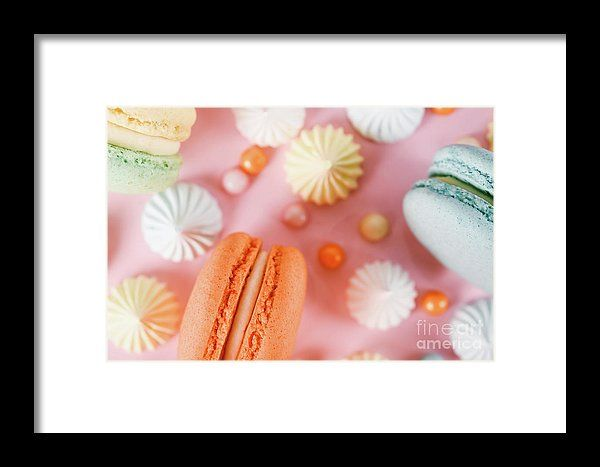 Colorful Macaron Birthday Cake And Sweet Candy Topping Framed Print