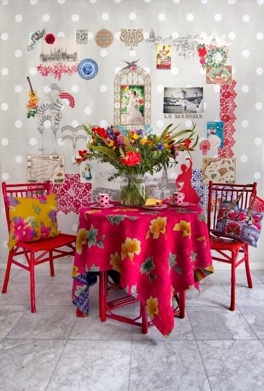 .awesome hot pink table, chairs, and tablecloth !