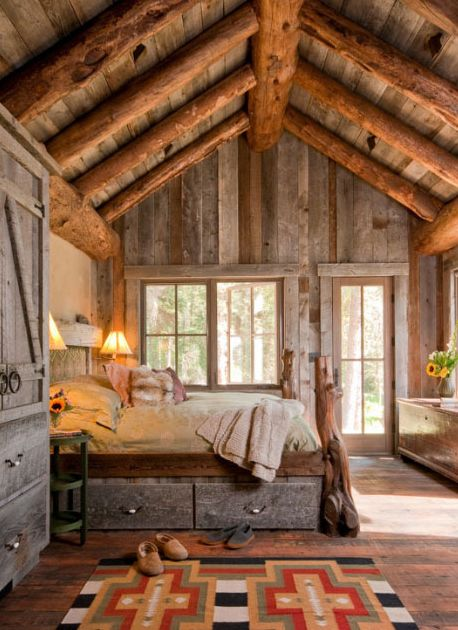 I Love The Rustic Wood Interior Walls. COLORFUL RUG