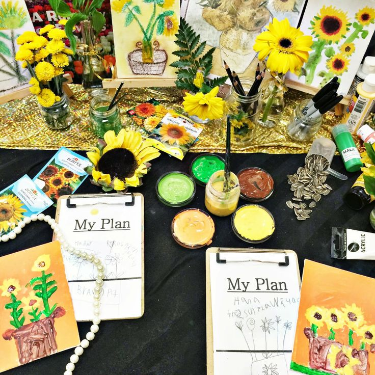 """""""The Sunflowers."""" First we made a plan! Then we painted! Posted by Joanne Marie Babalis."""