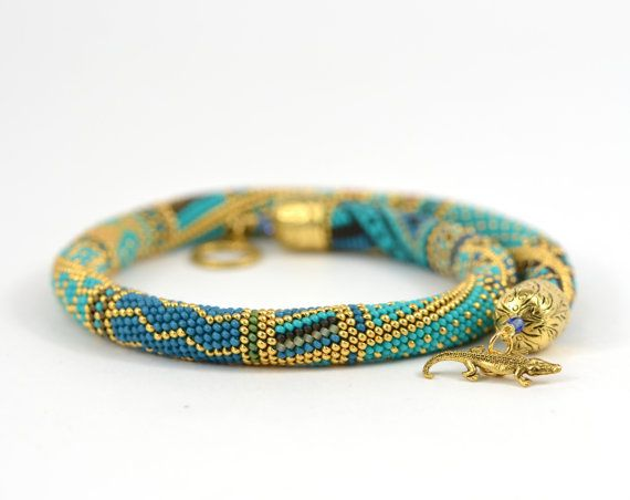 Bead Crochet Necklace Samarqand  Turquoise  Blue  by LeeMarina, $92.00