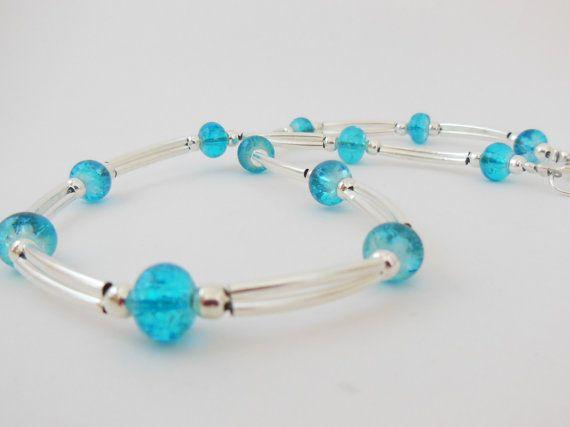 Aqua Crackle Glass & Silvertone Noodle Necklace. by LeelysBeads, €22.00