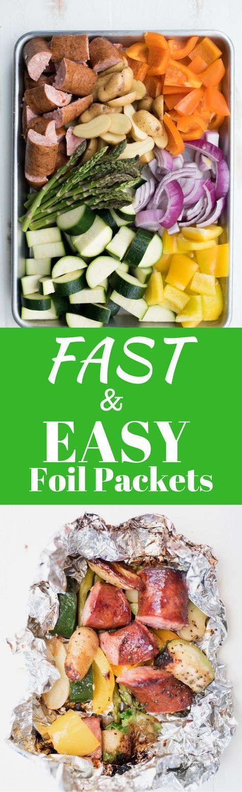 Fast and Easy Foil Packet Dinner. Sausage Foil packets to toss on the grill. Easy week night meal. A healthy, low carb dinner for the family.