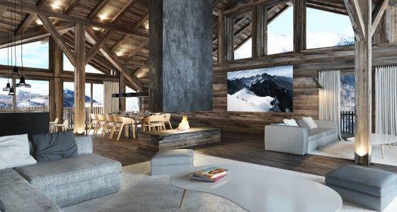 Best 25 chalet design ideas on pinterest chalets chalet interior and living room decor stone - Salle de bain de luxe moderne ...