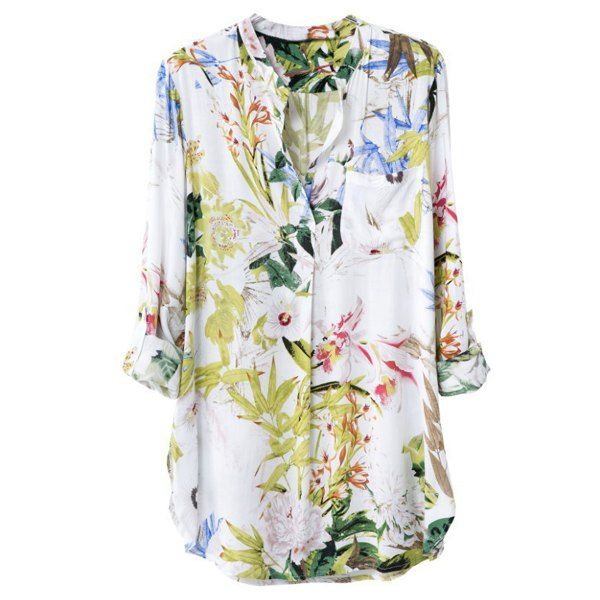 Fashionable Stand Collar Long Sleeve Floral Print Women's Shirt, AS THE PICTURE, M in Blouses | DressLily.com