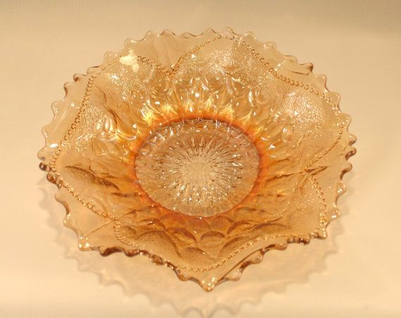 Dugan Marigold Carnival Glass Bowl Fish Scale and by RetroEnvy21