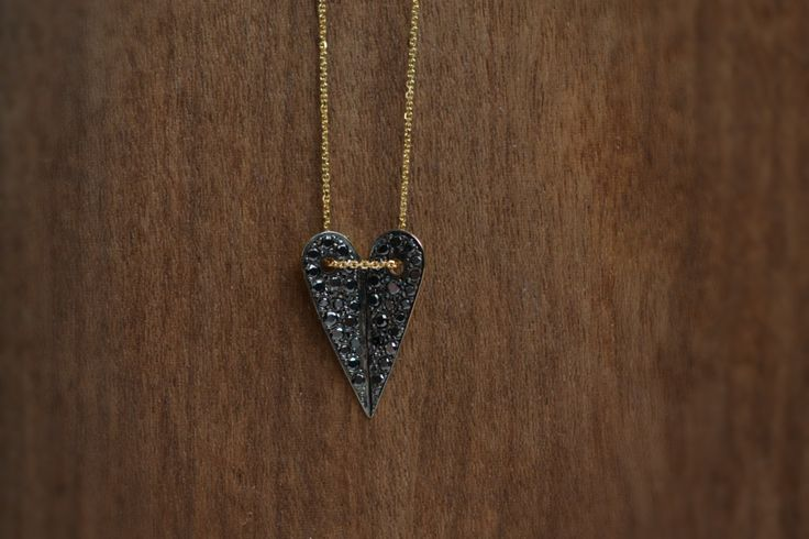 Heart Pendant Necklace Solid 18k Yellow Gold Brilliant Cut Pave Mounted Black Diamonds Handmade in Greece Boho Chic Valentine Love by ViazisJewelry on Etsy