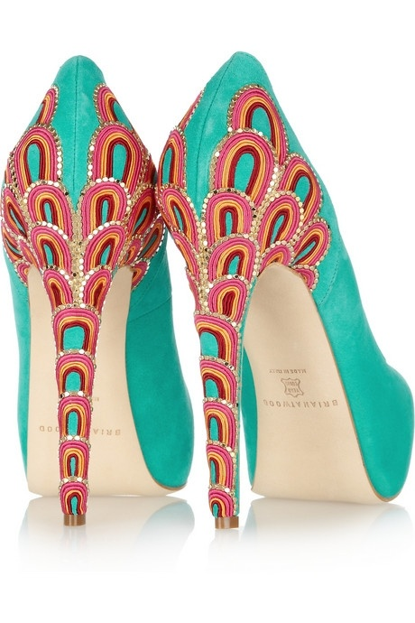 Brian Atwood  Claudia embroidered suede pumps  $2,115: Fashion, Style, Color Combos, Suede Pumps, Brian Atwood, Brianatwood, Peacocks Shoes, High Heels, Art Deco