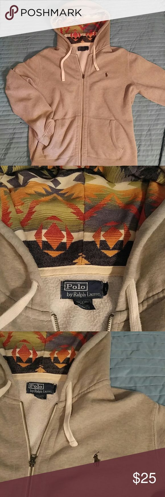 Polo by Ralph Lauren grey zip up hoodie L Beautiful item made by Ralph Lauren. Grey zip up hoodie featuring green polo horse and super fresh tribal pattern in the good. Very nice condition! Polo by Ralph Lauren Shirts Sweatshirts & Hoodies