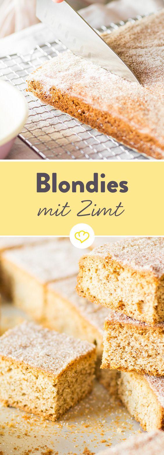 Heute gibt Blondies statt Brownies. Mit hellem statt dunklem Teig und Zimt an Stelle von Schokolade. Getoppt werden sie mit geschmolzener Butter und Zucker.