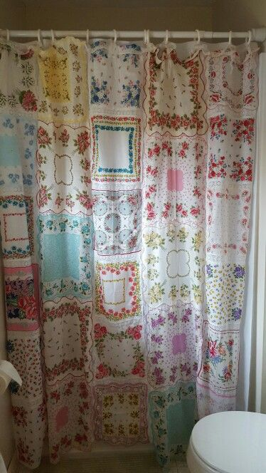 Vintage Handkerchief Shower Curtain Sewing And Needles