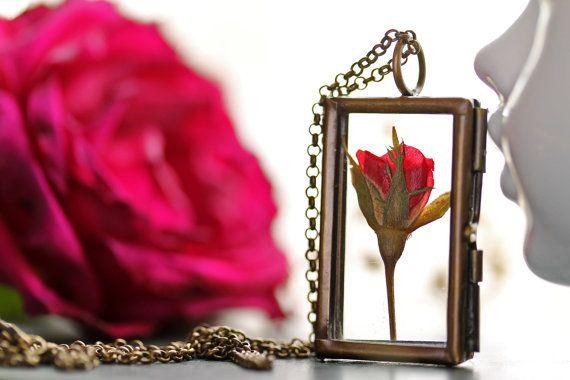 Red rose necklace real rose bud I love you door RubyRobinBoutique