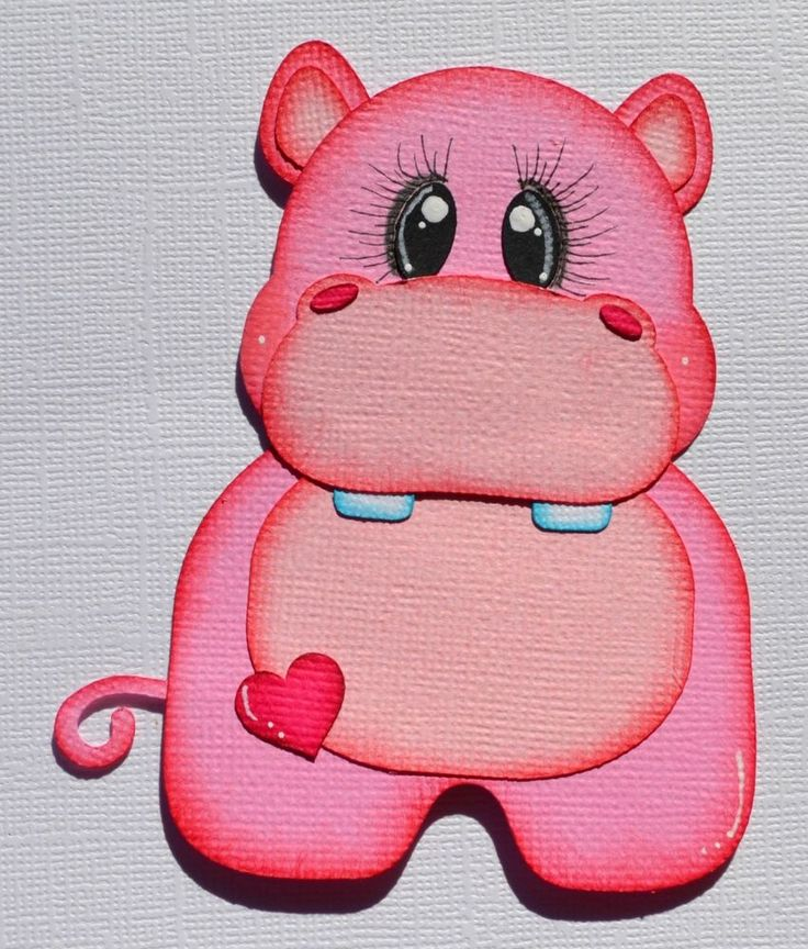 Baby Girl Hippo, Paper Piecing for Premade Scrapbook Page Layout Album