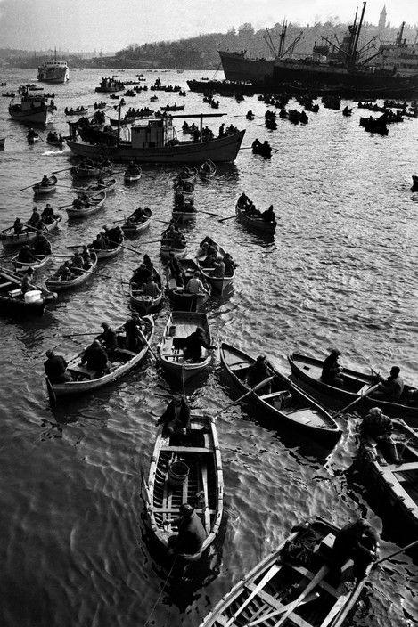 Turkey. 1968. Fishing-boats in the Golden Horn. Ara Guler