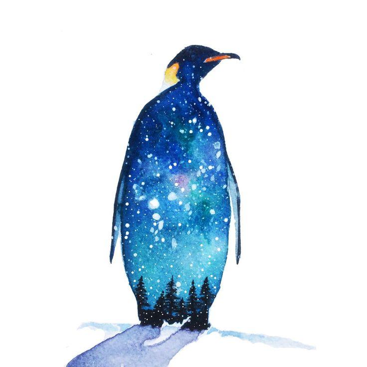 Penguin Watercolour Painting Winter Snow Print