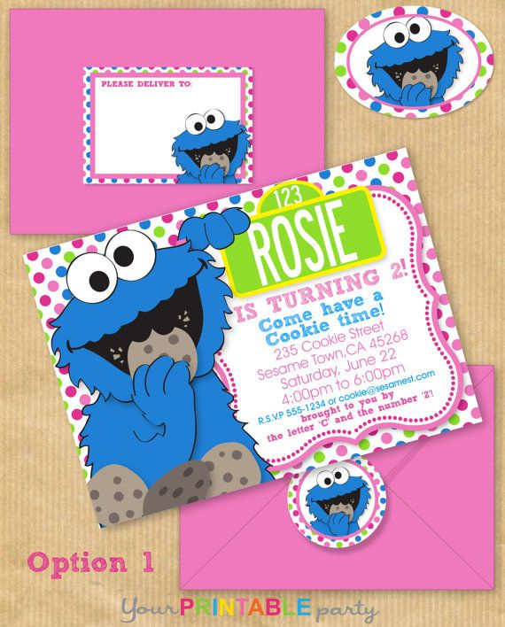 Girls COOKIE MONSTER Party Invitation 5x7 by YourPrintableParty, $14.00