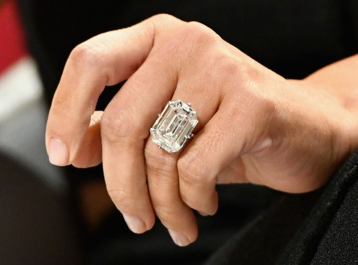 OCT 2016 - It was just last month that Kanye West gave Kim a 20-carat emerald cut diamond ring from Lorraine Schwartz. According to the jewelry designer's Instagram page, this bling is D-Flawless and type 2A (the rarest and most valuable type of diamond) just like her engagement ring.