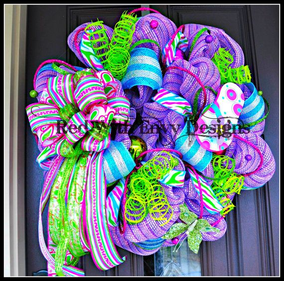 Summer Wreath, Wreath, Deco Mesh Wreath, Deco Mesh, Spring Wreath, Flipflop Wreath, Flip flop, Spring, Summer. $135.00, via Etsy.