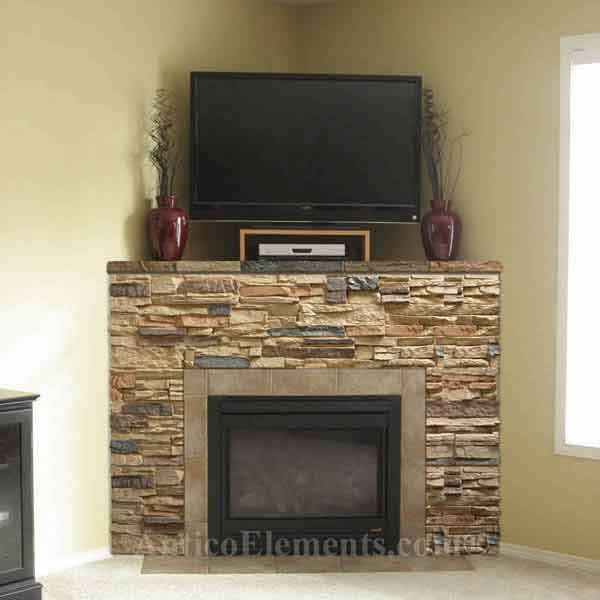 75 best images about fireplaces pebble and stone tile on for Corner stone fireplace