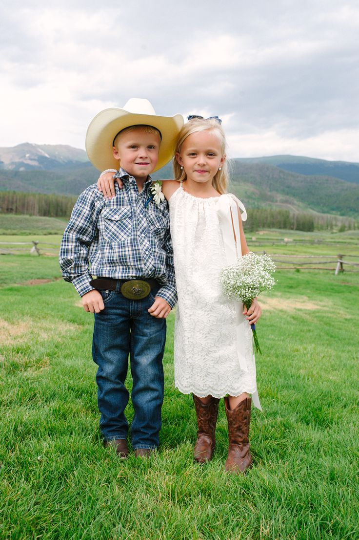 cowgirl leather lace western wedding rings Western Style Cowboy Ring Bearer and Cowgirl Flower Girls Michele Hart Photography Devil s Thumb Wedding