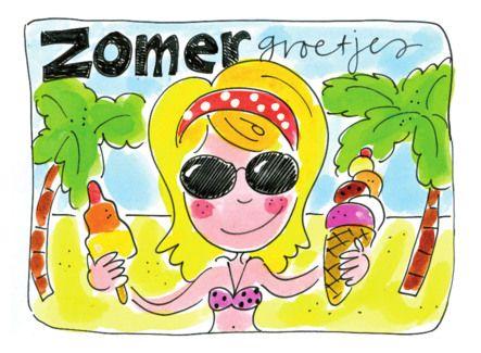 Zomerkaart met een meisje, ijsjes en palmbomen- Greetz