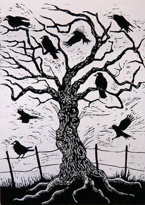 Rook Tree, 1999 (woodcut) Nat Morley
