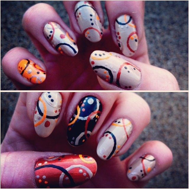 """#nailart #nails #unhas #diynails #freehand #accentnails #oranges #confetti #swirls #nailaddiction #justbecause #metallics #polkadots #noreason #nopattern #satisfied #naturalnails"" Photo taken by @jznails on Instagram, pinned via the InstaPin iOS App! http://www.instapinapp.com (04/02/2014)"