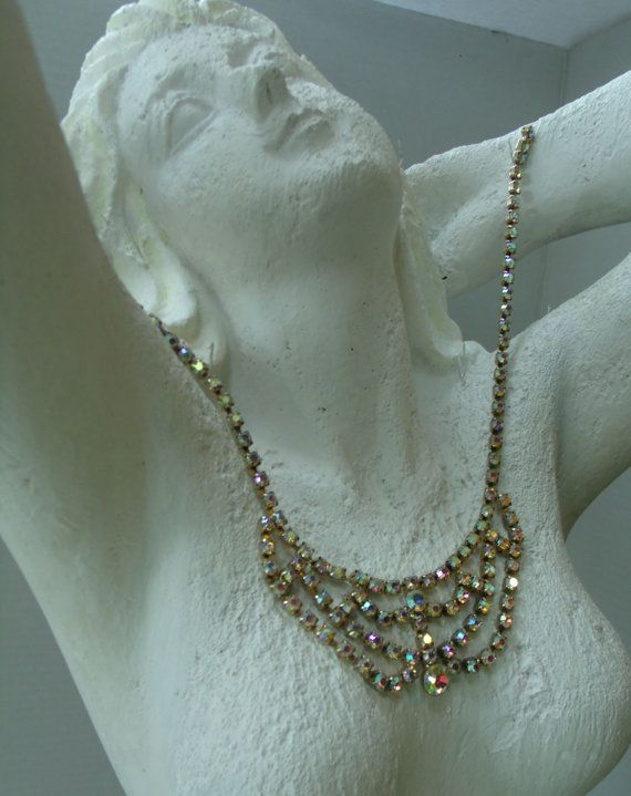 Vintage Aurora Borealis AB Crystal Necklace by AntiqueMee on Etsy