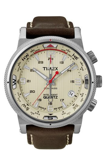 $140 Timex® 'Intelligent Quartz' Leather Strap Compass Watch available at Nordstrom