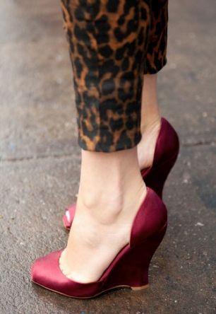 leopard pants + cranberry satin heels