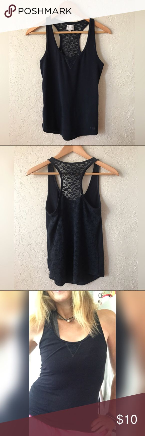"""Gilly Hicks Navy Laced Back Racer- Back Tank , S So soft Navy Blue Racer back styled Tank Top with sheer Back , ( Laced )  scoop- neck , small v pattern at Neckline. , GH"""" logo at bottom   Excellent condition, Small by Gilly Hicks Gilly Hicks Tops Tank Tops"""