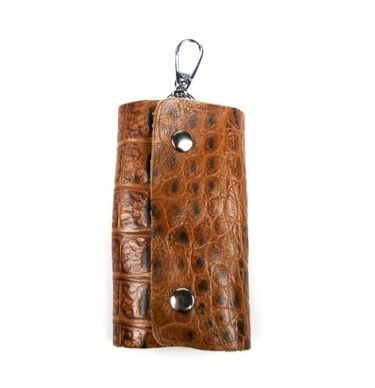 Brown Colour Pattern PU Keyholder with Double Magnet Detail