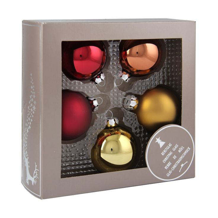 5-piece glass Christmas baubles set, matt and shiny traditional mix. The set consists of 5 baubles with a 6 cm diameter.
