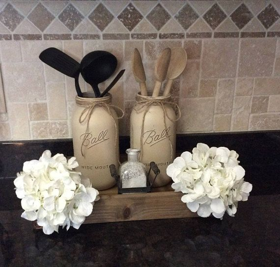 Rustic Mason jar utensil holder/Half gallon Mason jar kitchen