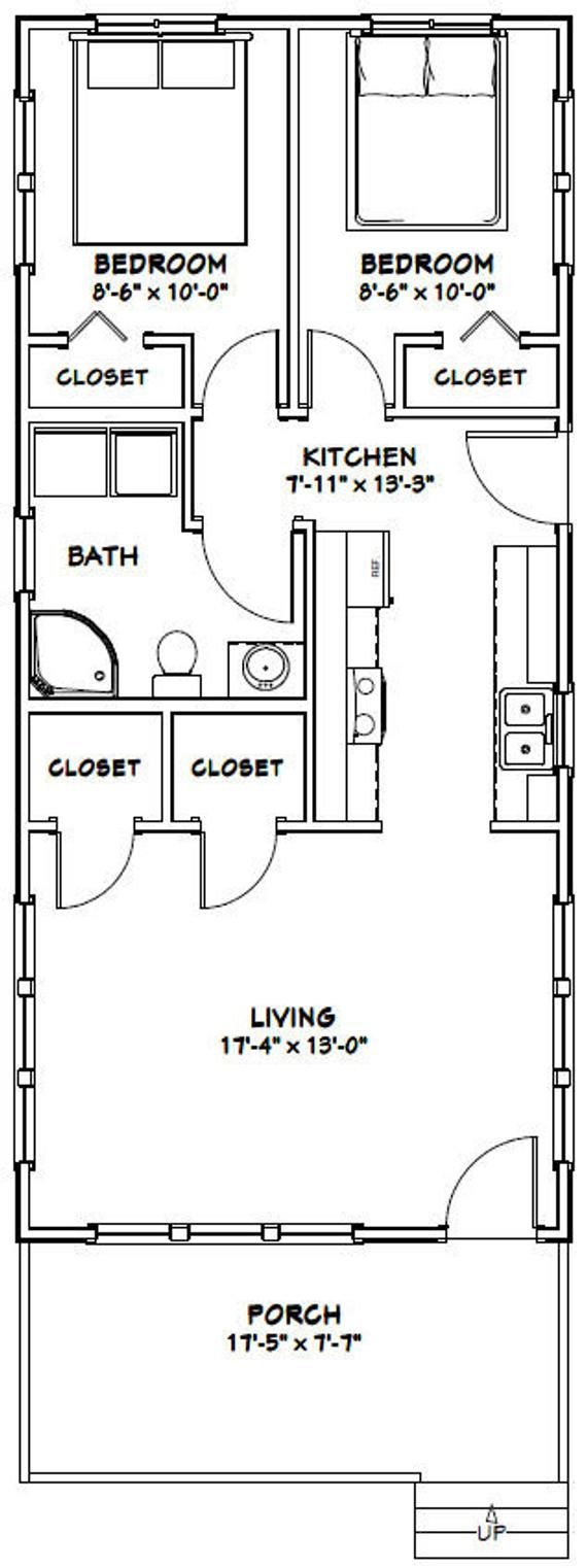 18x40 House 2 Bedroom 1 Bath 720 Sq Ft Pdf Floor Plan Etsy Tiny House Floor Plans Shed Plans Wood Shed Plans