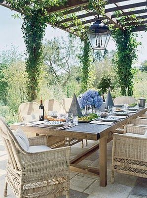al fresco: Dining Rooms, Outdoor Dining, Covers Patio, Outdoor Living, Wooden Tables, Outdoor Spaces, Weights Loss, Wicker Chairs, Antiques Linens