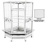 KINGS CAGES GC 14022 CORNER PARROT CAGE bird toys African Grey Macaw Cockatoo (White)