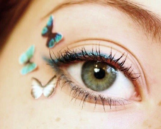 Tiny Temporary Tattoo Makeup - Teen Girl Gift - Temp Blue Eyeshadow Makeup Butterfly Eye Decals 3pcs von SpotLightJewelry auf Etsy https://www.etsy.com/de/listing/81478296/tiny-temporary-tattoo-makeup-teen-girl