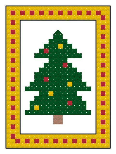 Free cross stitch advent calendar pattern, Christmas tree