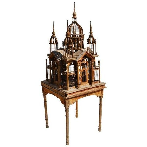Victorian Wooden Bird Cage Palace on Floor Stand ($375) ❤ liked on Polyvore featuring home, home decor, decorative objects, bird cage home decor, wood trays, wooden trays, victorian tray and wooden home decor