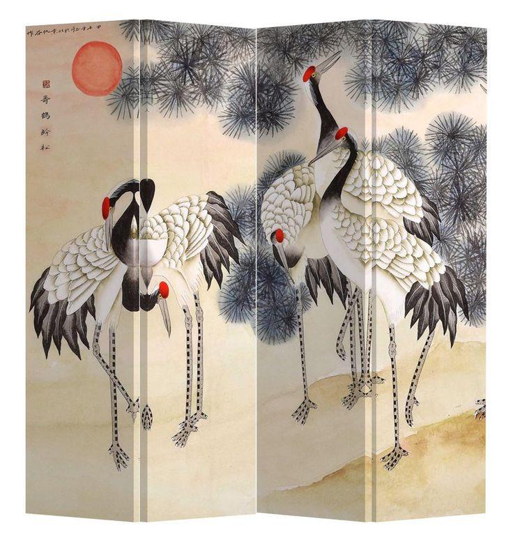 Chinese Kamerscherm 4 Panelen Kraanvogels en Rijzende Zon Canvas - Orientique.nl - Asian Living