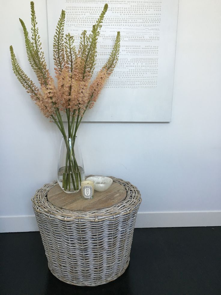 Our new Whitewash Rattan Coffee Table looking pretty as a picture dressed up with these gorgeous blooms!