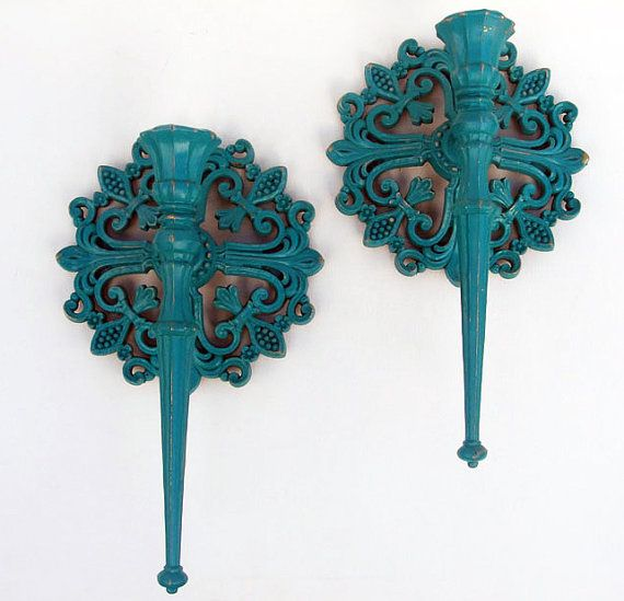 Vintage Wall Sconces Fleur De Lis Upcycled Antiqued By Spotonfinds 1999