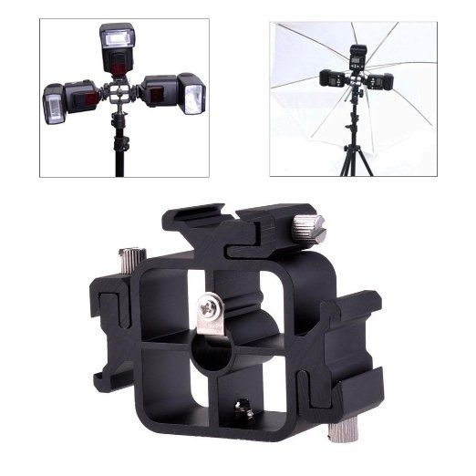 Phot-R® TriFlash Bracket with 3 Flash Cold Shoe Mounts & Umbrella Holder