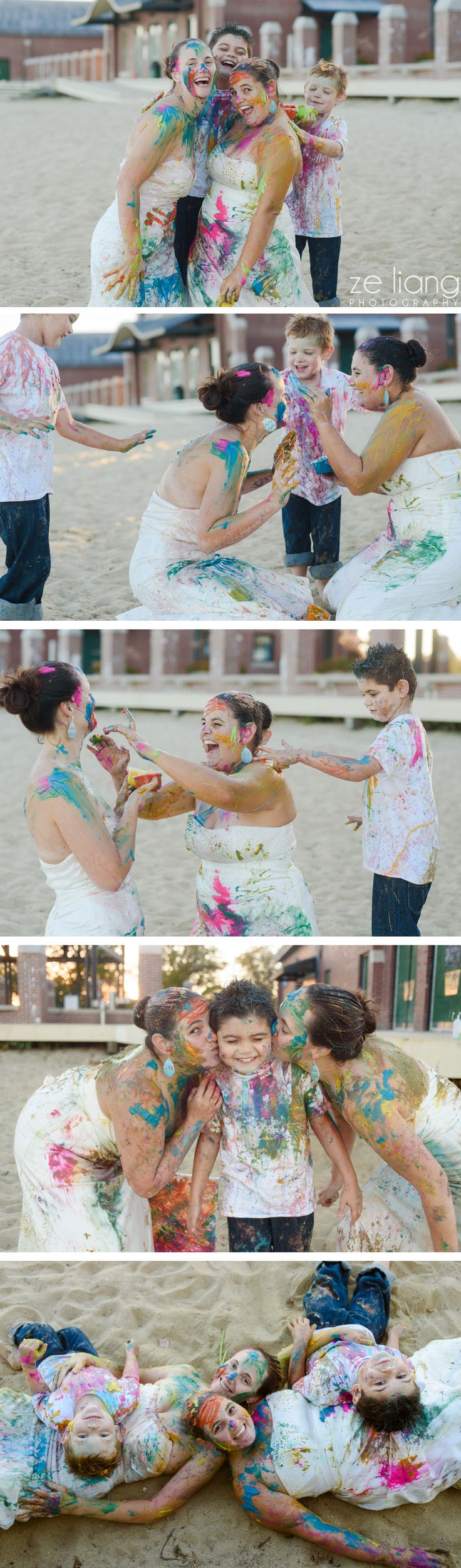 gay wedding paint war trash the dress + family session on the beach #cute #lesbian #colorful #samesex #lgbt