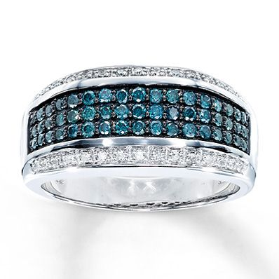 Mens Blue Diamond Ring 3/4 ct tw Round-cut 10K White Gold